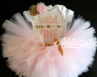Wild One! Soft Pink & Gold Onesie, Tutu and Headband Set!