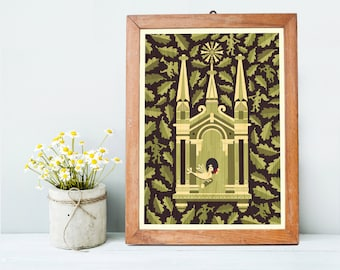 Church Art Print A3, Spiritual Housewarming Gift, Christmas Gift, Christian Religious Art, Green Wall Art, Home Decor, Inspired by Lithuania