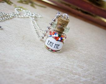 Alice in Wonderland EAT ME 0.5ml Glass Bottle Necklace Charm - Drink Me Cork Vial Pendant