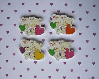 Set of 4 bears in love heart wooden buttons