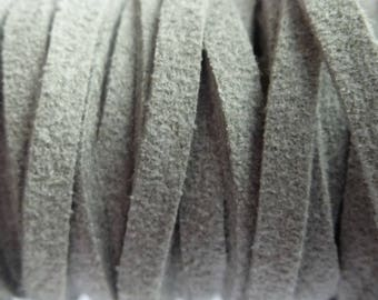 Set of 2 m 3 mm light grey suede cord