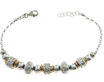 Bracelet with nuggets in 925 sterling silver plated white gold and pink adjustable length 14 to 18 cm