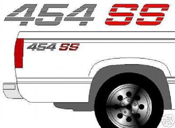 454 SS CHEVROLET Chevy Truck Bedside Decals with your Color