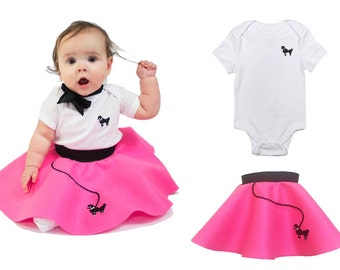 2 pc BABY/Infant (3-12 month) 50's POODLE SKIRT outfit