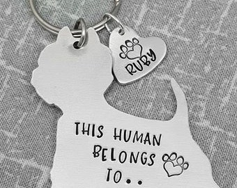 Westie - West Highland Terrier - This Human Belongs To.. Personalised Dog Keyring - Dog Lover - Dog Mum - Gift
