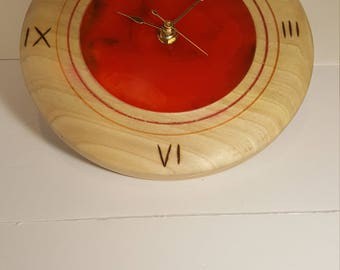 Poplar/epoxy wall clock