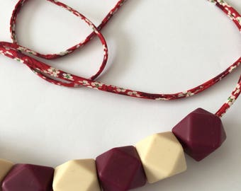 Teething Necklace with Liberty of London Mitsi Valeria Strawberry Print Fabric cord and silicone beads