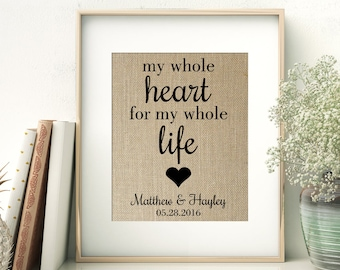 My Whole Heart For My Whole Life | Engagement Wedding Anniversary Print | Gift for the Bride and Groom | Personalized Burlap Print