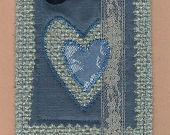 ONE Original Handmade Heart Fabric Greeting Card, Textile Art Appliqued Heart Card with lace and Buttons, Unique Mother's Day Card