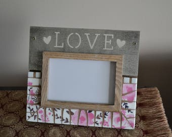 Love Picture Frame Or Mirror With Broken China Mosaic