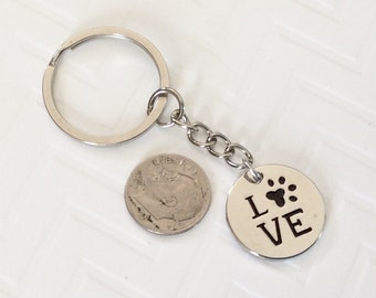 "1 - ""Love"" Dog or Cat paw Keychain, best friend key ring, stocking stuffer, Christmas gift key chain"