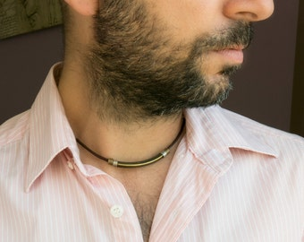 Men's Necklace - Men's Choker Necklace - Men's leather Necklace - Men's Jewelry - Men's Gift - Boyfriend Gift - Guys Necklace - Husband Gift