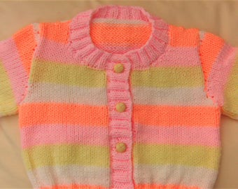 Girls Hand Knitted Aran Cardigan, 3/4 Sleeve Cardigan, Short Sleeve Cardigan, Girls Clothes, Birthday Gift, Spring Cardigan, Girls Cardigan