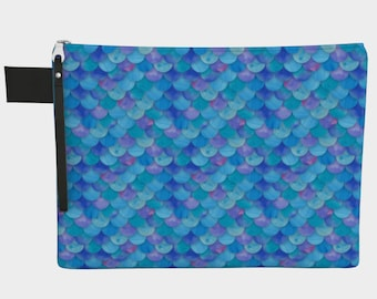 Blue Mermaid Scales Zippered Carry-All Pouch
