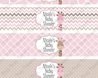 Printable Pink Giraffe Baby Girl Shower Water Bottle Wrappers