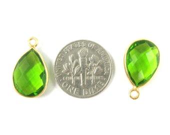 Bezel Gemstone Pendant - Small Teardrop Bezel Charm - Gold Plated Bezel Frame - Peridot Quartz - Gem Pendant-14mm(1pc) SKU: 201107-PRD