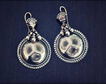 Rajasthan Silver Earrings - Ethnic Tribal Indian Earrings - Rajasthani Silver Dangle Earrings - Gypsy Silver Earrings with Bells