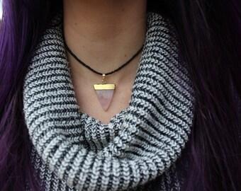Rose quartz beaded choker necklace - PREORDER