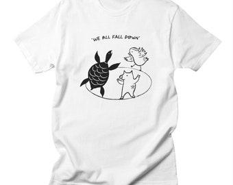 We All Fall Down - Mens - Black and White - T-shirt / Tee - iOTA iLLUSTRATiON