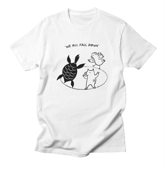 We All Fall Down - Mens - Black and White - T-shirt / Tee - iOTA iLLUSTRATiON