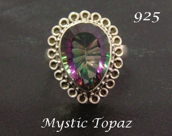 Sterling Silver Ring with Azotic Mystic Topaz Gemstone. Simply Stunning 925 Sterling Silver Ring 222, Mystic Topaz Gemstone | Size 6 3/4 US