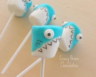 Chocolate Dipped Shark Marshmallow Pops (12) - Birthday - Wedding - Gift