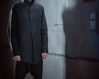 Minimalist Linen Black Jacket / Asymmetrical Mens Coat / Futuristic Minimalist Coat / Extravagant Mens Clothing / Mens Jacket by POWHA
