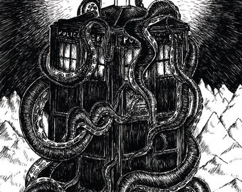 At the Mountains of Madness- Dr Who Tardis and Lovecraft Cthulhu inspired A4 art print poster- FREE WORLDWIDE SHIPPING