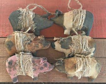 SIX Handmade Primitive Pig Ornaments - Primitive Ornaments - Hanging Ornaments - Christmas Ornaments - Set of Pig Ornaments - Six Pig Ornies