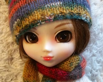 Hand Knitted Hat and Scarf for Pullip Doll (# 0014)