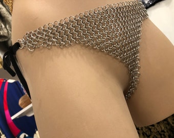 Silver Chain Maille G-string