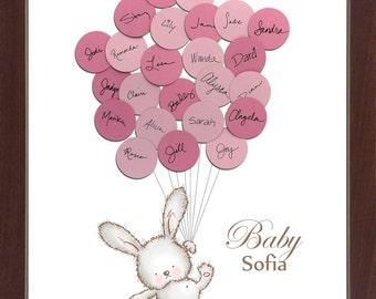 Baby Bunny Rabbit Baby Shower Guest Book Print - Girl