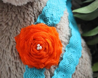 12 to 24m Orange Flower Headband, Flower Baby Headband, Orange Teal Toddler Lace Headband, Pearl Headband Flower Prop