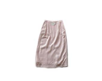 Vintage pink linen Skirt, midi pencil skirt, small