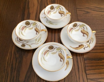 H&C HEINRICH GOLDEN Chestnut Teacups and Saucers -  Heinrich Golden Chestnut - Heinrich Selb Bavaria - Fine Bavarian Porcelain Teacups