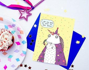 Unicorn Birthday Greeting Card, funny, cute card