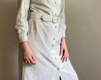 70's silver floor-length dress with rhinestones