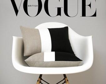 Pillows as seen in Vogue Magazine: Black & White Colorblock Pillow Cover (Set of 2) by JillianReneDecor, Modern Minimal Linen Color Block