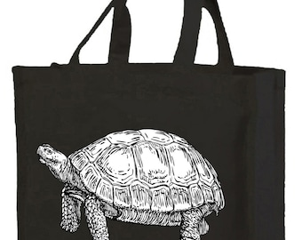 Tortoise Cotton Shopping Bag with gusset and long handles, 3 colour options
