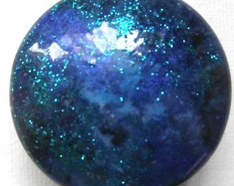 Custom made One of a Kind Furniture and Cabinet Knobs-Purple Galaxy with turquoise glitter