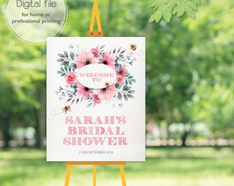 Bride to Bee Bridal Shower Welcome Sign, Hen Party Night, Wedding Pink and Grey, Honey Bee Shower, Printable Digital File