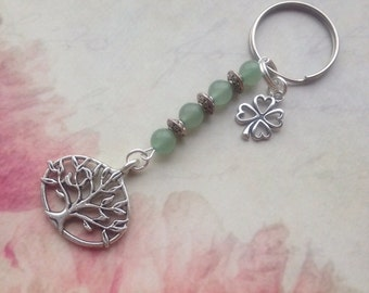 Tree of Life Keyring.Gemstone Tree of Life Keyring Keychain.Aventurine Tree of Life Keyring.Tree of Life Gift.Lucky.Four Leaf Clover Keyring