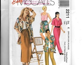 McCall's  Women's Shirt, Top, Pull-On Pants or Shorts and Pull-On Skirt Pattern 2211