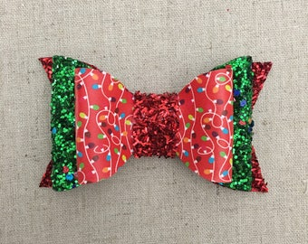 Christmas Lights and Glitter and Faux Leather Bow and Headband
