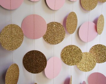 Gold and Light Pink Party Decoration, Bridal Shower Decor, Baby Shower Decoration, Birthday Party Decoration, Gold Pink Circle Garland