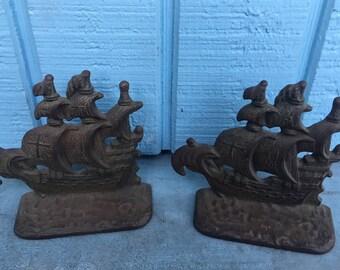 Antique Cast Iron Bookends Galleon Pirate SHIP 1920's Art Deco Set Pair