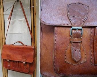 Vintage Leather Briefcase Brown/ Vintage leather bag /Laptop Satchel/Messenger Bag /Multi Pocketed /Unisex /Moroccan