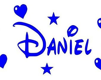 Disney Style Personalised Wall Art, Childs Name Hearts & Stars, Vinyl Decal Sticker.