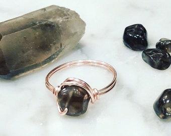Rose Gold Smokey Quartz Ring • Smokey Quartz ring • Rose gold ring • Rose gold wire wrapped ring • Gemstone ring • Statement ring • Boho