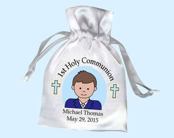 First Communion Boy Personalized Favor Bag (Pack of 10)